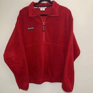 {L} Men's Columbia Red Fleece Half Zip Pullover